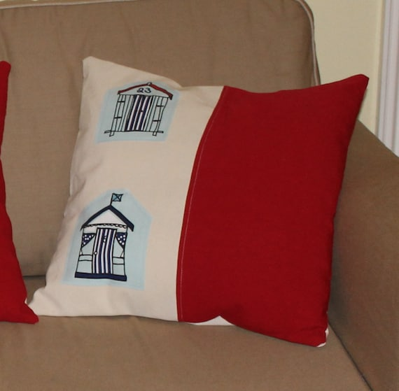 Pillow cover seaside with beach huts