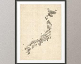 Japan Old Sheet Music Map, Art Print (340)