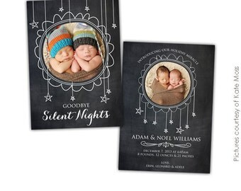 INSTANT DOWNLOAD- Christmas Card Photoshop template - Sprinkling Stars - E609