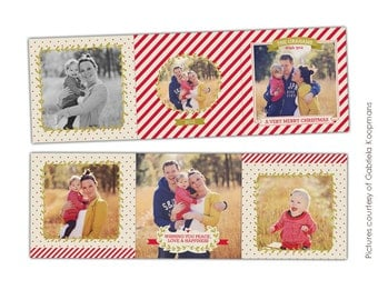 INSTANT DOWNLOAD - 5x5 Accordion card Photoshop Template - Vintage moments - E616