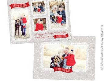 INSTANT DOWNLOAD -  Christmas Card Photoshop template - Snowy day - E625