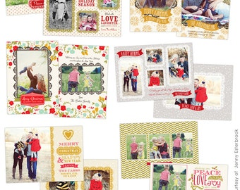 PSD Christmas Photo card template - Chic Greetings - E621