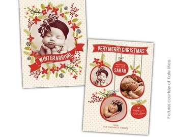 Christmas Birth Announcement Photoshop template - Holly portrait- E632