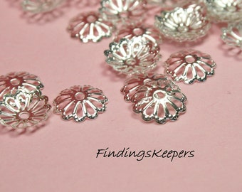 50 Flower Bead Caps, Silver Plated Filigree  9 x 2 mm -   bc076