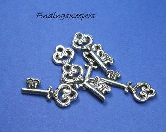 6 Key Charms Tibetan Silver 21 x 7 mm - ts123