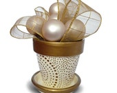 Wedding Favor Flower Pot in Gold and Ivory - 6-inch
