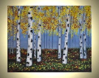 Aspen Trees 8x10 Acrylic Canvas Original Painting Autumn Birch Trees, Acrylic, Fall Colors, Wall Art