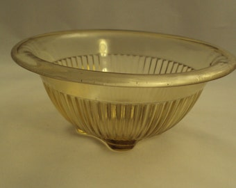 Vintage Federal Glass Amber Rolled Rim Mixing Bowl 7 Inch
