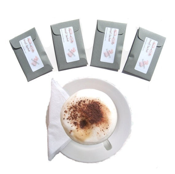 Cappuccino Coffee Scented Sachet Set - Fragrance Packets - Coffee Lover Gift - Wedding Favors Mini Envelopes Color Choices Bachelorette