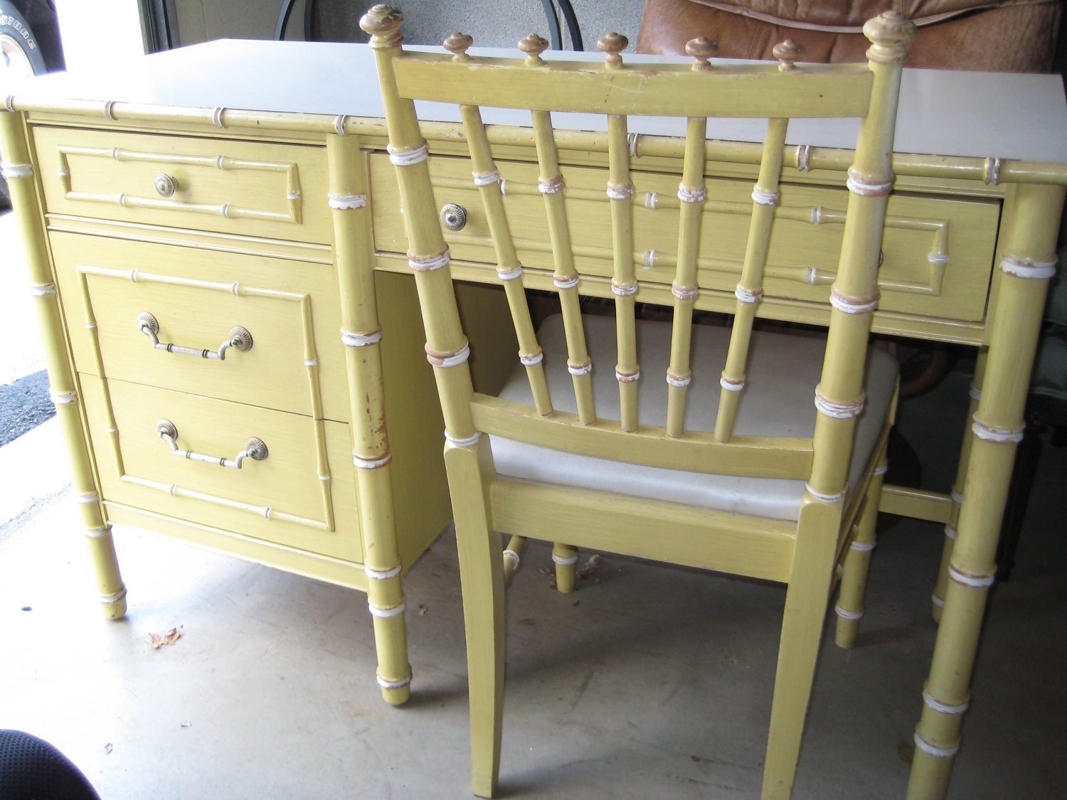 Vintage Thomasville Faux Bamboo Desk with matching chair