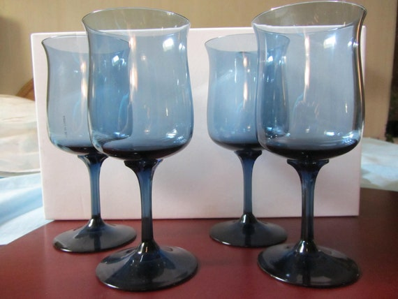 Lenox Blue Mist Crystal Water Wine Goblets By