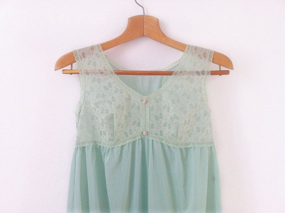 Vintage jade full Slip with soft Lace, size S