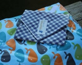 Navy Gingham Whale Reusable Sandwich / Snack Wrap