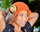 Felt Cloche - Orange Crochet Hat