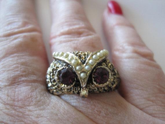 Adjustable Vintage Rhinestone Owl Ring