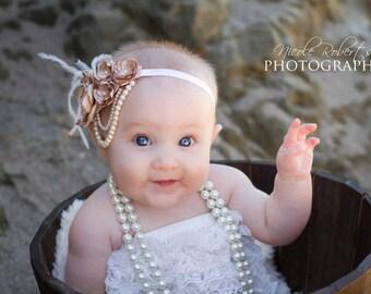 1920s Style Champagne Flower Headband/Baby Headband/Photo Prop/ Flower Girl Headband