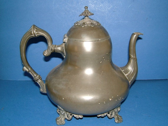 Victorian Atkin Brothers Vintage Pewter Teapot with Great Adorment and Finial