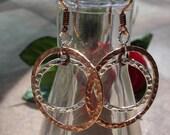 "Silver and Copper Hammered Link ""Cosmic"" Earrings, Statement Earrings, Hoop Earrings, Boho Jewelry, Everyday Jewelry"