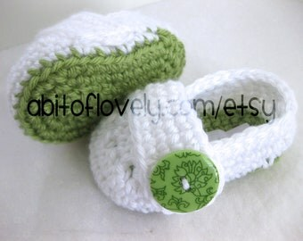 Easter Baby Girl OR Boy Infant Shoes / Slippers / Booties - Green & White - YOUR choice size - (newborn - 12 months) - photo prop - children