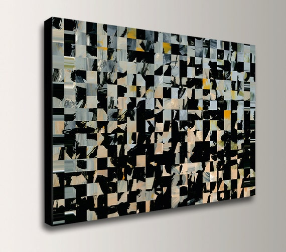"Abstract Painting on Canvas - Grey and Black with Tan Accents - Acrylic Painting Reproduction - Wall Decor - ""Puzzle"""