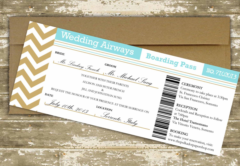 Destination Wedding Invitations Etsy: Destination Wedding Invitation / Boarding Pass Wedding