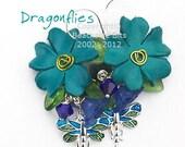DRAGONFLIES, Leather Flower Earrings, Sterling Silver, Swarovski Crystal, Enamel Charms, Australian Made