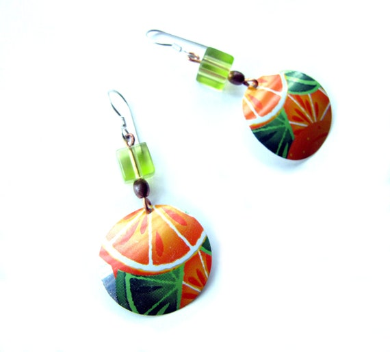 Citrus Delight Earrings - Orange and Green - Recycled Soda Can Earrings