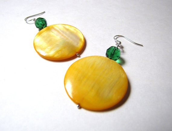 Yellow and Green Shell Earrings for Oregon Ducks or Packers Fans