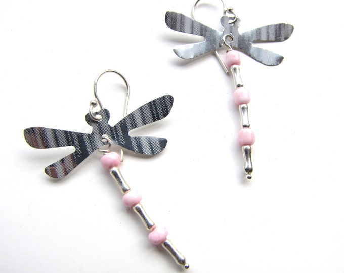 Pink and Silver Dragonfly Earrings from Recycled Soda Cans