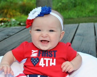Red, white, royal blue flower headbands, 4th of july headbands, flower headbands, fourth of july headbands, baby headbands, photography prop