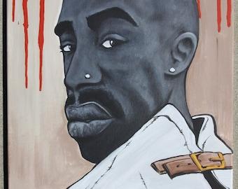 Tupac Shakur Straight Jacket Acrylic Painting 16x20 Canvas by Adam Valentino