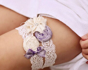 Wedding Garter Set, Silk wedding Garter, Bridal garter, Silk Garter, Garter Set, Violet Garter, Purple Garter