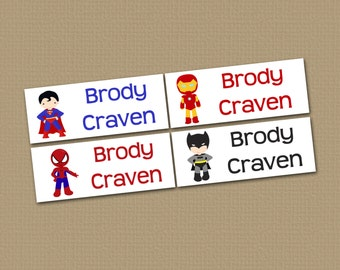 Personalized Waterproof Label Stickers - Superhero - Perfect for Bottles, Sippy Cups, Daycare, School - Dishwasher Safe