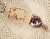 FREE SHIPPING Wine Cork Keychain Vintage Key - Glass Amethyst and Heart Chain