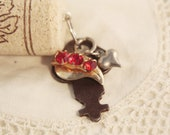 RESERVED FOR MLEA1203 Wine Cork Keychain Vintage Key - Red and Heart Charm Rhinestone Chain