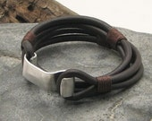 EXPRESS SHIPPING Men's leather bracelet. Brown leather wrap men's bracelet with hammered metal work clasp.Gift for him.