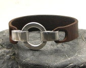 FREE SHIPPING Men's leather bracelet Brown leather men's cuff bracelet with hammered metal work ring and hook clasp