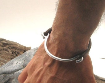 EXPRESS SHIPPING Gift for him. Mens leather bracelet..Brown leather men's bangle bracelet with  metal work clasp
