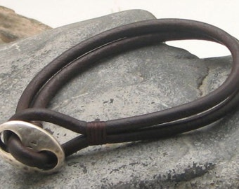 EXPRESS SHIPPING Unisex leather bracelet . Brown leather multi strap leather bracelet with silver plated infinity clasp