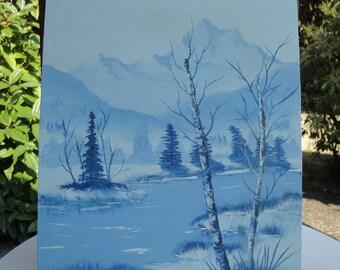 Vintage Original Painting (Signed) of Winter Landscape