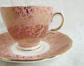 Vintage Colclough Bone China Footed Teacup and Saucer- Pink and Gold- Made in England