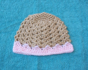sand and pink baby beanie, crochet girls beanie, tan and pink, 6 to 12 months old