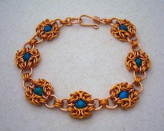 Cybele - Copper and Australian Jasper Chainmaille Bracelet