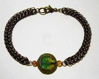 Aegean - Antique Bronze and Glass Coin Bracelet