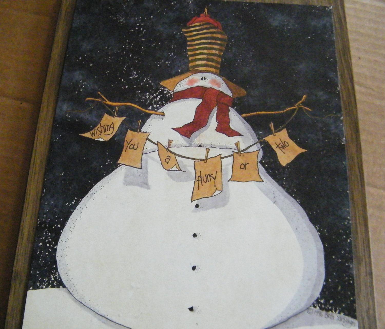 Primitive Christmas Wall Decor : Country primitive wood snowman sign snowmen wall decor