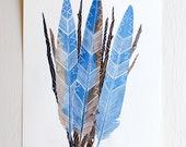 Blue Jay Feather Bundle - Watercolor Art Painting - Archival Print