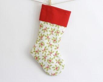 holly print christmas stocking, white, red, and green christmas stocking. holiday decor. woodland inspired christmas decor.
