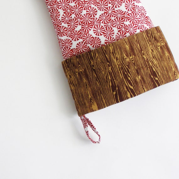 Faux bois and peppermint candy modern cotton Christmas stocking. Woodgrain Christmas stocking. Holiday decor. Woodland.