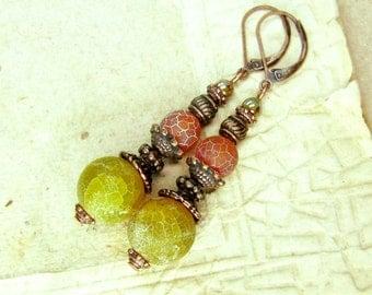 Copper Yellow Red Fire Agate Earrings - Birthstone Earrings