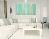 """RESERVED for a Client. Aqua Original Abstract Acrylic Painting Fine art on Gallery Canvas Titled: JUST A WHISPER 24x48x1.5"""" by Ora Birenbaum"""